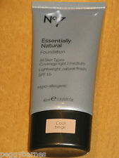 No7 ESSENTIALLY NATURAL FOUNDATION SHADE WARM BEIGE NEW/SEALED 40ml