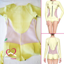 High Quality Women Wetsuit Pastel Yellow&Pink Long Sleeve&Cheeky Shorty Size M