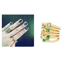 Melinda Maria Stacked Monroe ring Gold Emerald Green Celebrity Size 7 stack New