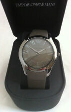 Emporio Armani Super Fino Reloj Grey Dial Cuero Ar2057 BNWT