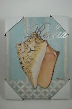 "Cone Sea Shell Canvas Wall Art Picture Sign Ocean Beach House ""Relax"""