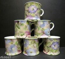 Set Of 6 Morning Glory Chintz English Fine Bone China Mugs Cups By Milton China