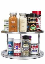 Estilo Stainless Steel Lazy Susan 2 Tier Turntable Spice Rack Organiser NEW