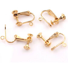 2/10Pair Copper Gold/Silver Plated Clip On Screw Back Earrings Findings DIY