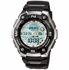 Casio Fishing Timer Watch, 200 Meter WR, Thermometer, Black Resin, AQW101-1AV