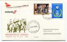 FFC 1986 Swissair First Flight Brazzaville Congo Zurich Suisse Rep. Populaire