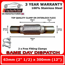 "2.5"" x 12"" Clamp-On Exhaust Flexipipe 63mm x 300mm Downpipe Flexi"