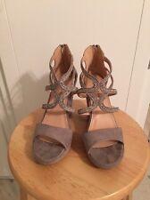 Silver Rhinestone Bridal Or Formal Wedge Heel EUC