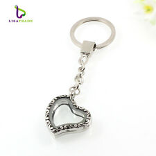 30mm Alloy Silver Glass Heart Shape Floating Charm Memory Locket Key Chain