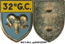 32° Groupement de Camp, sigle G.C. bélier,fixation 2 pontets Delsart 2092 (7021)