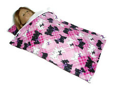 "Scottie Dog Sleeping Bag fits American Girl Dolls 18"" Doll Clothes Pink Plaid"