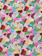 PUL Waterproof Fabric Pink SWEET STUFF CUPCAKES BTY 36 x 64 BabyVille Boutique