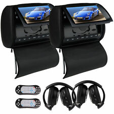 "Black 9"" HD Car DVD LCD Monitor Player Headrest Pillow+Cover FM IR Headphones SD"