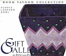 Fitz & Floyd Room Vavoon Collection Purple Leopard Bowl