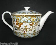 NEW GRACE BLUE+GOLD YELLOW FLOWER+BUTTERFLY PORCELAIN TEA,COFFEE POT-4 CUPS