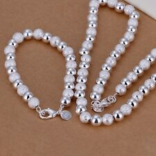 New Women 925 Sterling Silver Plated Bead Chain Bracelet Necklace Jewelry Set