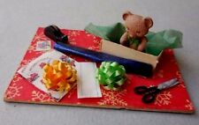 DOLLHOUSE MINIATURE ~ CHRISTMAS WRAPPING WITH TEDDY BEAR ~ 1:12