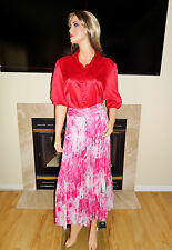 GORGEOUS FLIRTY FEMININE WHITE & FUCHSIA PRINT CHIFFON LONG SKIRT by CATO SZ 14