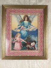 "Antique Vintage Guardian Angel Children Print W LACE mat 10x12"" Framed"