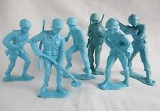 "Vintage Blue 5 Inch Jumbo Plastic Toy Soldiers 5"" US Army Men Lot of 6"