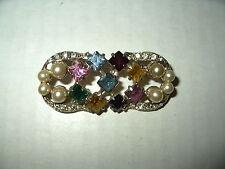 Vintage Signed JOSEPH WIESNER N.Y. Goldtone Pearl & Rhinestone Brooch Pin
