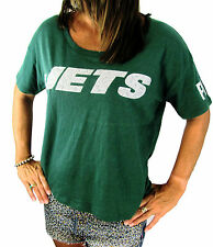 Victoria Secret BLING PINK NY JETS T-Shirt Tee silver glitter slouchy NEW S