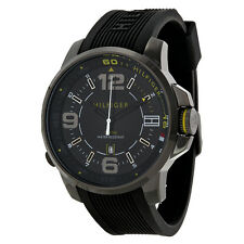 Tommy Hilfiger Black Dial Black Silicone Strap Mens Watch 1791008