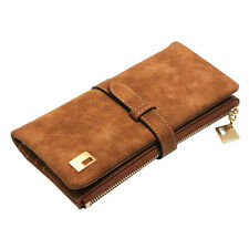 Coffee Women Lady Wallets Clutch nubuck Leather Zipper Long Purse Card Holder