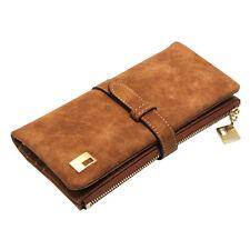 Coffee Women Lady Wallets Clutch nubuck Leather Zipper Long Purse Card Holder