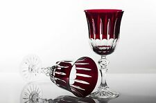 Box of 6 WINE CRYSTAL GLASSES 24% LEAD HAND MADE NEW COLLECTION RUBI  COLOR