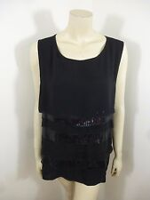Avenue Black Sleeveless Tier Sequin Stretch Woman Top Blouse Plus Size 22/24