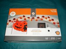 New Halloween 20 Pumpkin & Witch LED Garland Lights Clear Wire Indoor Use 6 ft