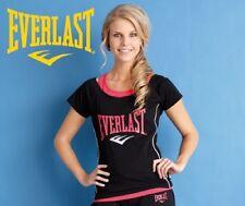 Everlast Damen Schwarz & Rosa Zweilagige Optik Fitnesstraining T-shirt Oberteil