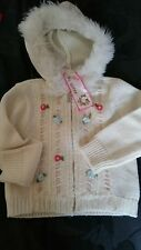 Guess 24 months baby girl white hooded sweater zipper winter top EUC flowers