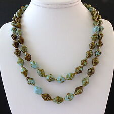 Art Deco Double String Pebble/Faux Scottish Agate Glass Bead Necklace Blue Green