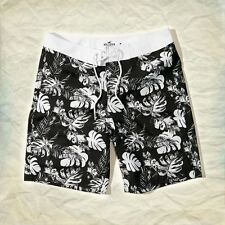 GENUINE HOLLISTER MENS CLASSIC FLORAL PRINT SWIM SHORTS BLACK WHITE SMALL BNWT