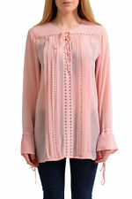 Just Cavalli Women's Pink Long Sleeve Tunic  Blouse Top US S IT 40