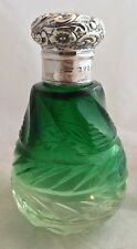 Antique Cut Glass Green To Clear Sterling Top English Perfume Bottle