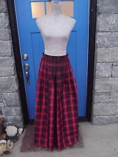 WORTH Brand Sz 6 Red & Black Tartan Plaid 100% Silk Long Maxi Skirt Full Length