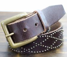AWESOME OLD NAVY DARK BROWN GENUINE LEATHER STUDDED CASUAL WOMEN'S BELT M/L(N11