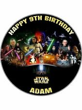 """Star Wars Personalised Message 7.5"""" Round Edible Icing Cake Topper"""