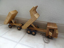 Vintage wooden toy truck with  trailer, unique system for turning, beautiful toy