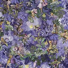 MICHAEL MILLER NIGHT FLOWER FAIRIES SILVER METALLIC FABRIC