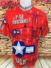 P-51 Mustang Cycling Bike Jersey WWII Series Patriotic Red White & Blue Size L