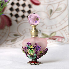Vintage Pink Metal Flower Refillable Crystal Perfume Bottle Home Decor 8ML New