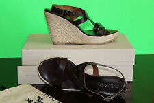 BURBERRY LEATHER STRIP ESPADRILLE SANDALS #9us $399
