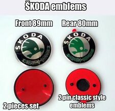 2x SKODA Front / Rear GENUINE EMBLEM BADGE 90+80mm FABIA OCTAVIA SUPERB ROOMSTER