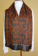 Men's Saks Fifth Avenue Collection Paysley Reversible Green/Browns Silk Scarf