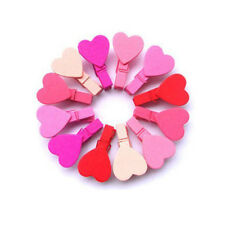 12Pcs Hot Love Heart Wooden Clothes Photo Paper Peg Pin Clothespin Craft Clips