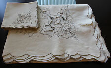 Vintage Ivory Cutwork Embroidered Lace Linen Tablecloth+ 8 Napkins